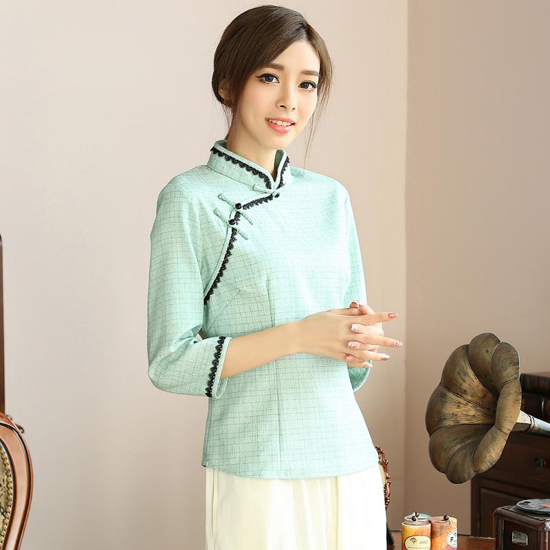 Excellent 3/4 Sleeve Cheongsam Qipao Shirt - Green