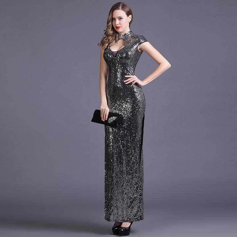 Sexy Modern Beaded Long Qipao Cheongsam Dress