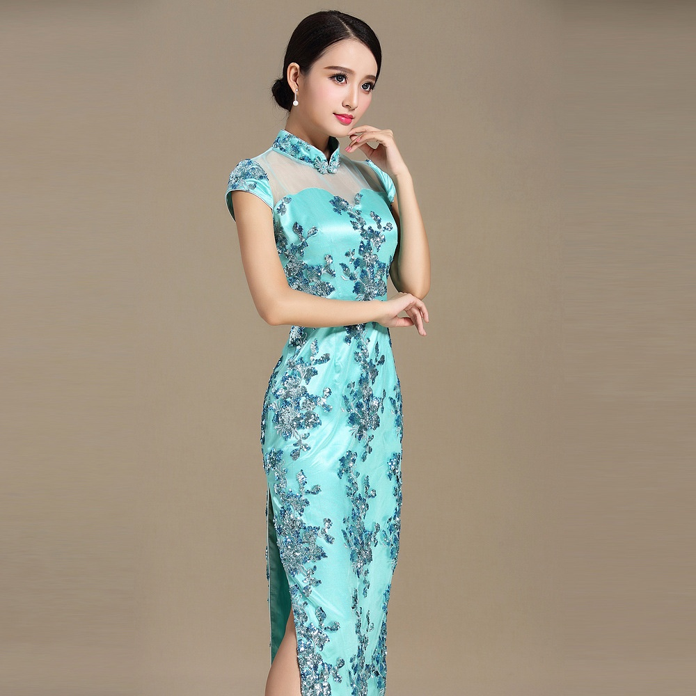 Charming Embroidery Lace Qipao Chinese Dress Cheongsam