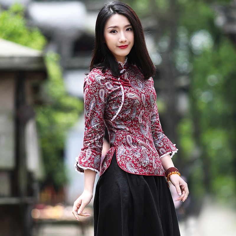 Lovable Paisley Print Cotton Cheongsam Qipao Shirt