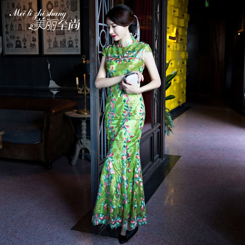 Lovely Embroidery Fishtail Qipao Cheongsam Chinese Dress