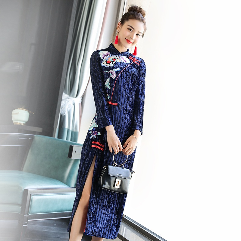 Lovely Butterfly Embroidery Qipao Cheongsam Chinese Dress