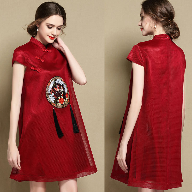 Excellent Embroidery Lace Qipao Cheongsam Dress - Claret