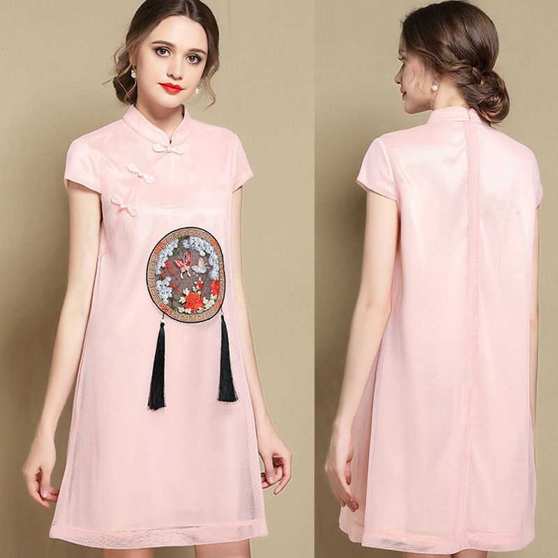 Excellent Embroidery Lace Qipao Cheongsam Dress - Pink