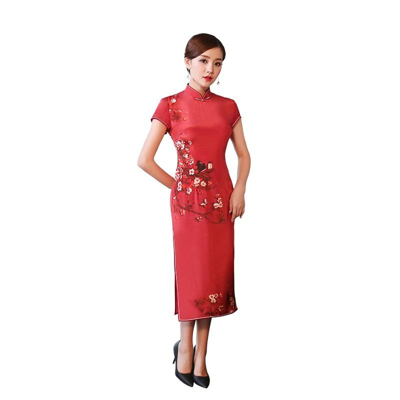 Wonderful Print Silk Qipao Cheongsam Chinese Dress