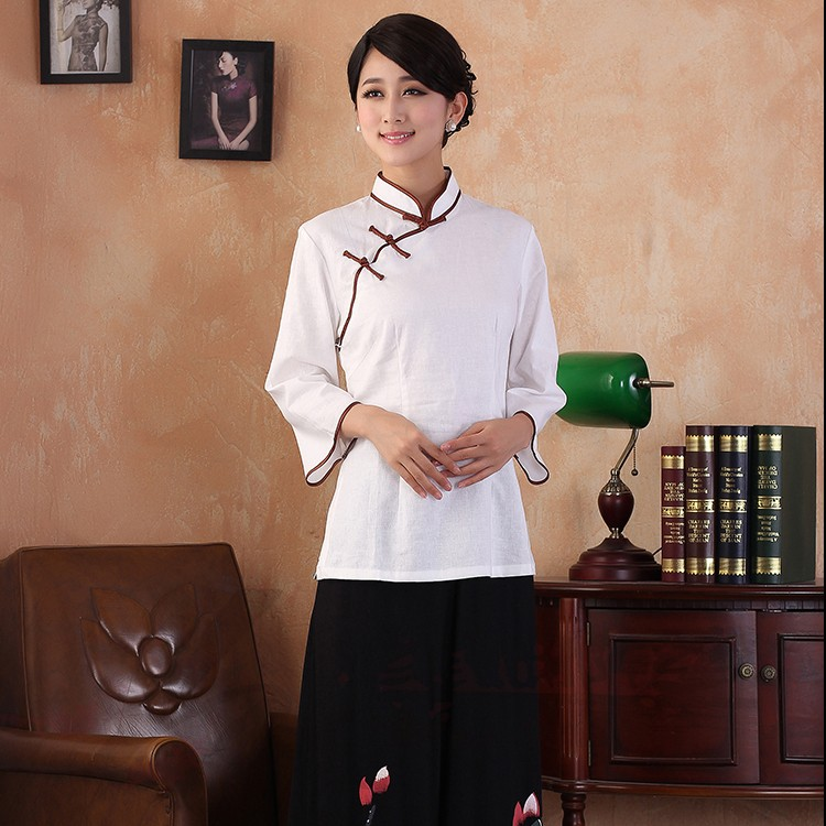 Traditional Cheongsam Style Flax Blouse - White