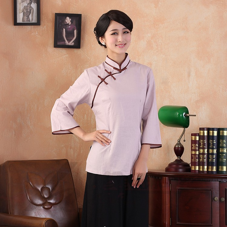 Traditional Cheongsam Style Flax Blouse - Pink