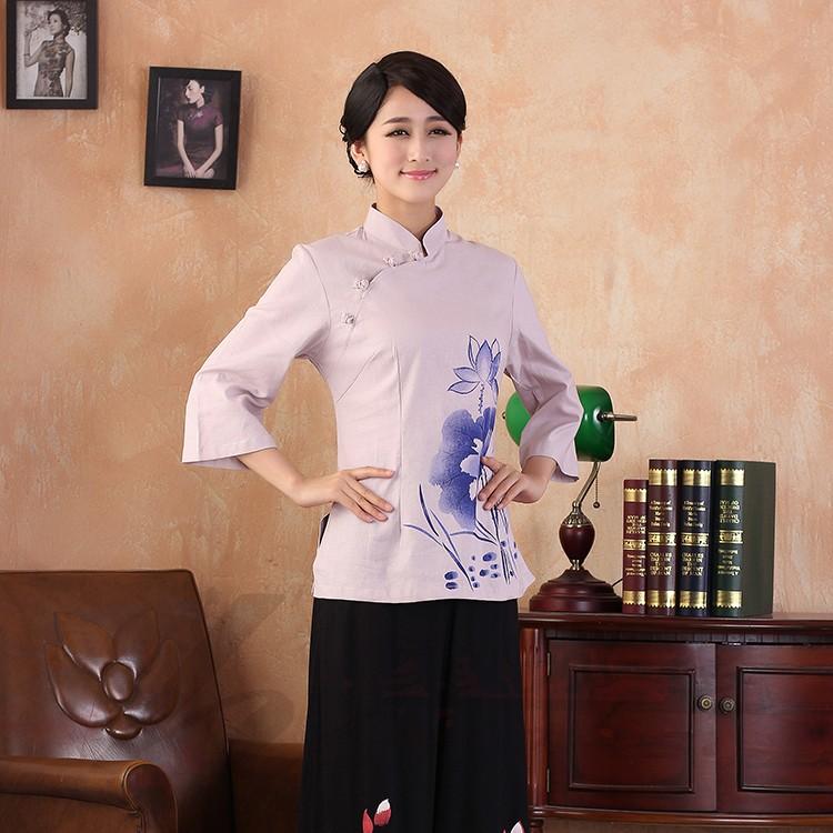 Lotus Flowers Print Cheongsam Style Blouse - Pink