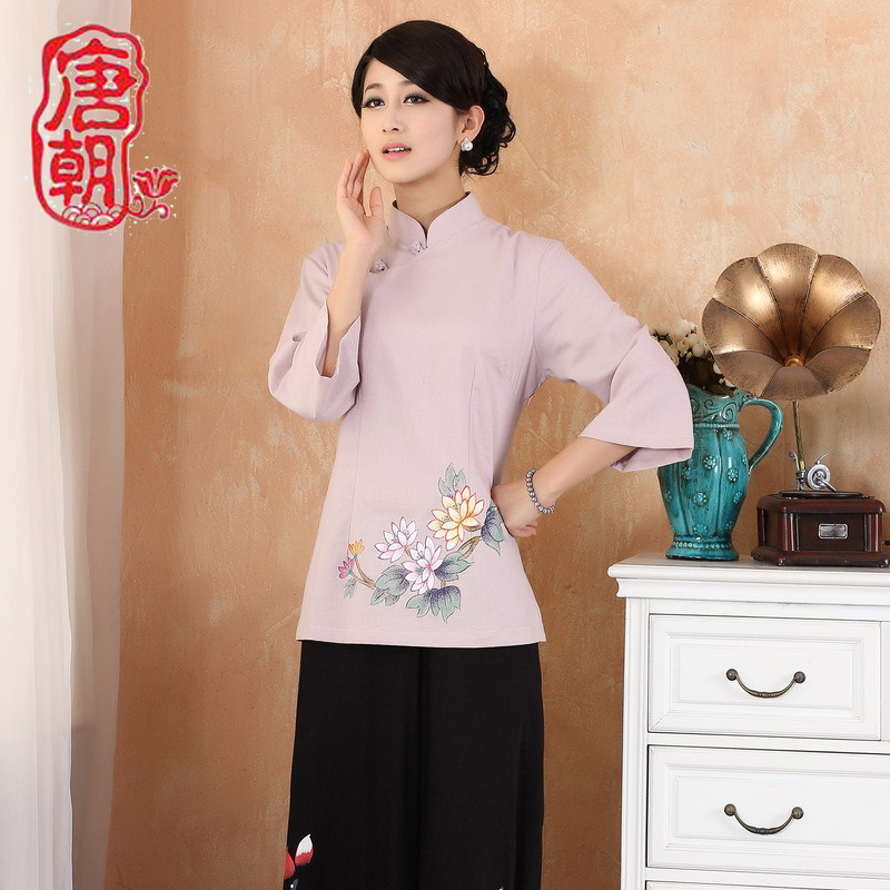 Cute Flowers Print Cheongsam Style Blouse - Pink
