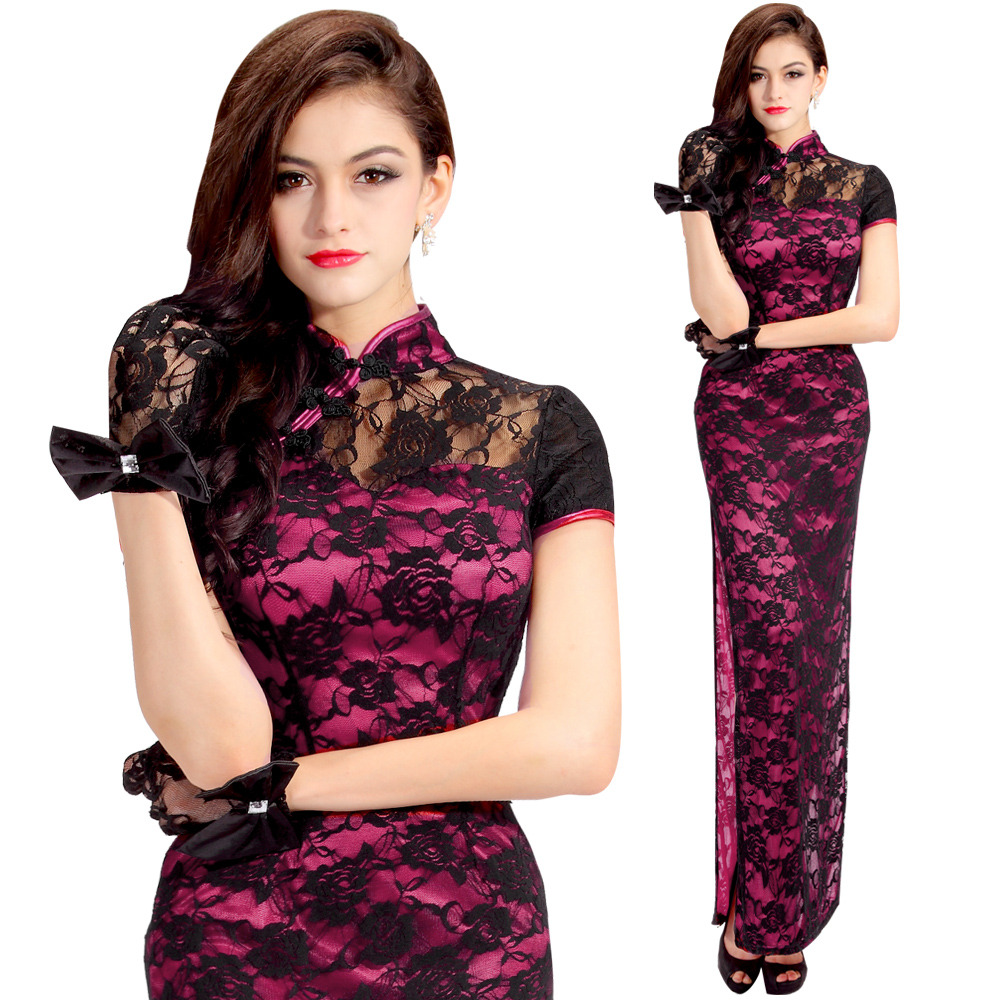 Marvelous Roses Lace Long Cheongsam Dress - Pink