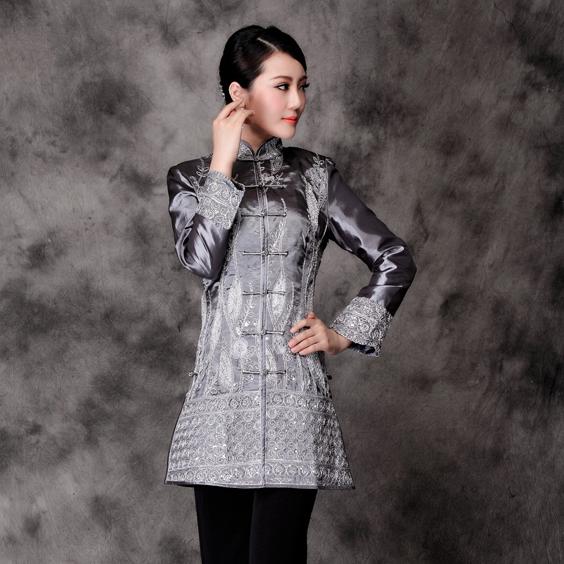 Fantastic Embroidery Long Jacket - Silver