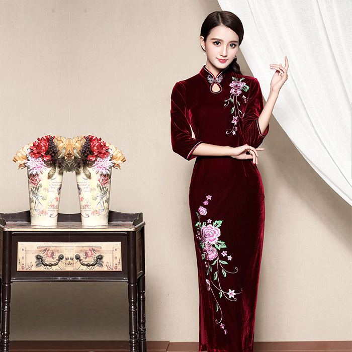 Amazing Embroidery Chinese Qipao Cheongsam Dress - Red