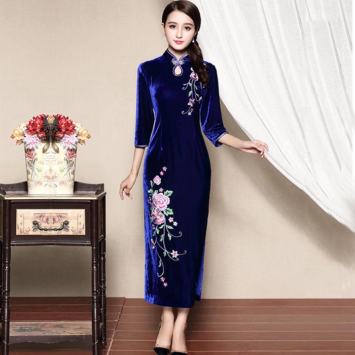 Amazing Embroidery Chinese Qipao Cheongsam Dress - Blue