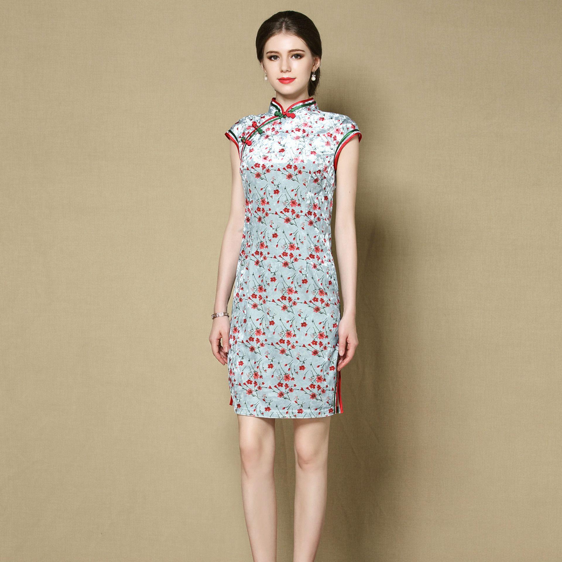 Cute Small Flowers Velvet Qipao Cheongsam Dress - Blue