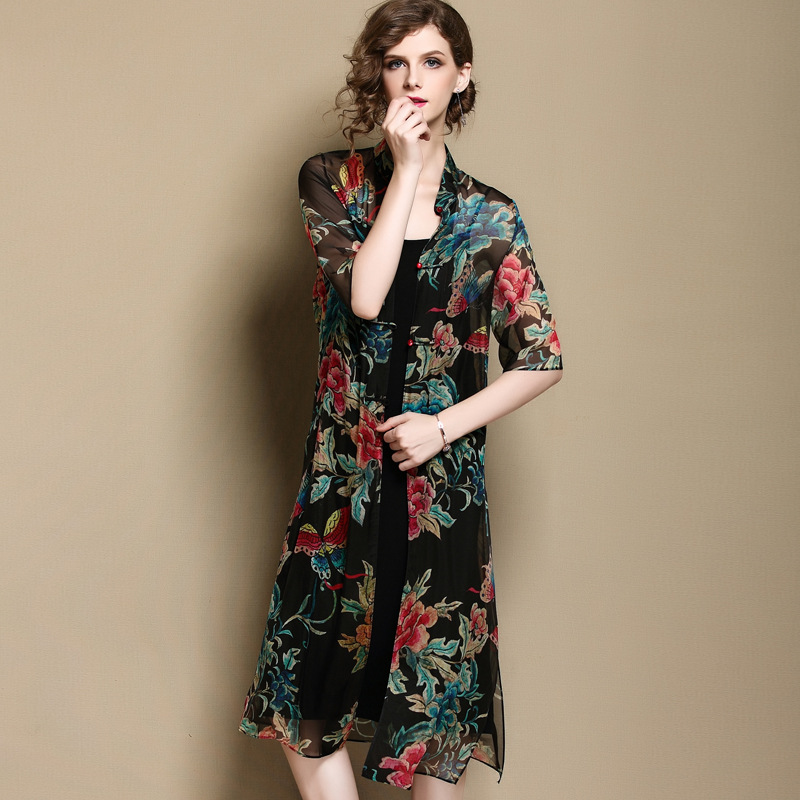 Modern Front Buttoned Thin Silk Qipao Cheongacsam Dress