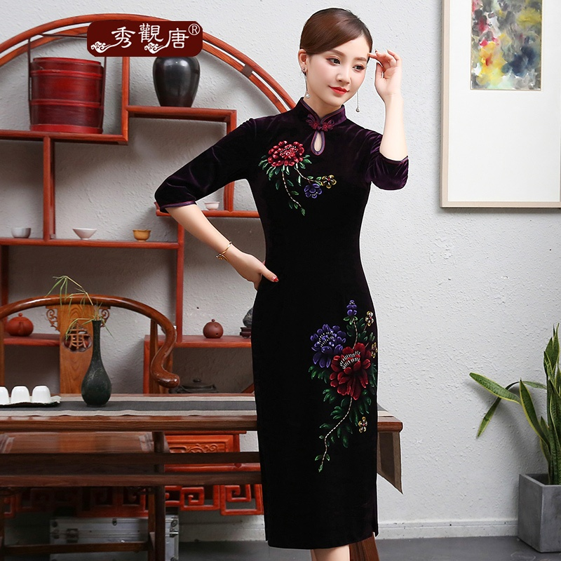 Wonderful Floral Drawing Velvet Qipao Cheongsam - Purple