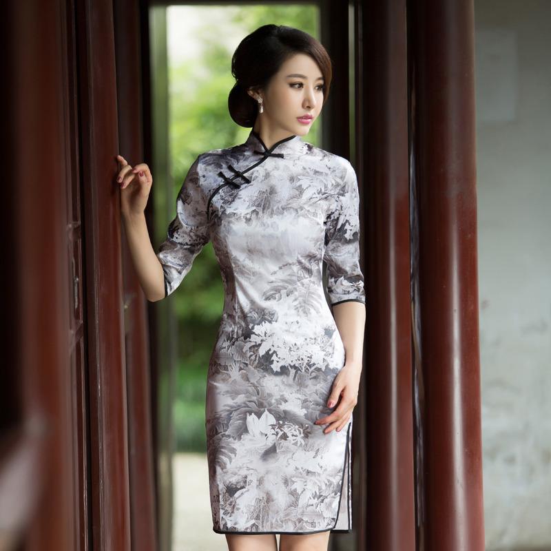 Fascinating Flowers Knee Length Qipao Cheongsam Dress