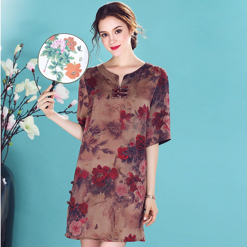 Appealing Ink Print Scoop Neck Silk Cheongsam Qipao Dress
