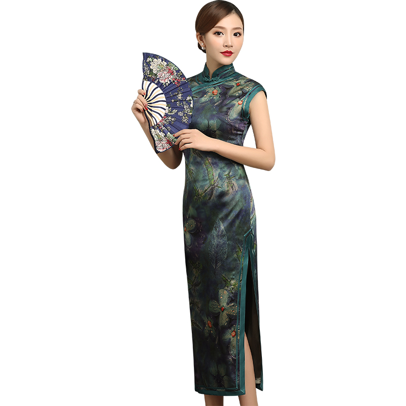 Impressive Sleeveless Long Silk Qipao Cheongsam Dress