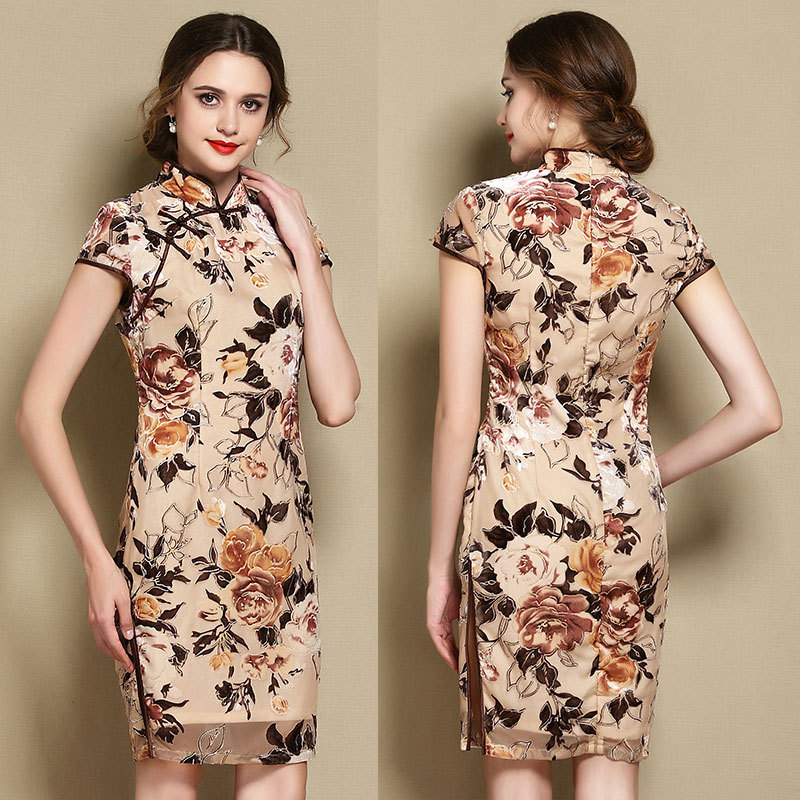 Fabulous Floral Flocked Velvet Qipao Cheongsam Dress