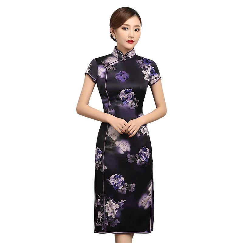 Amazing Floral Print Silk Chinese Qipao Cheongsam Dress