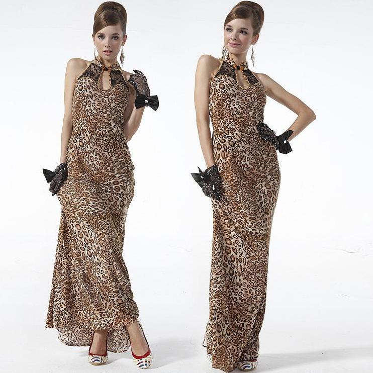 Sexy Leopard Wave Long Modern Cheongsam Dress