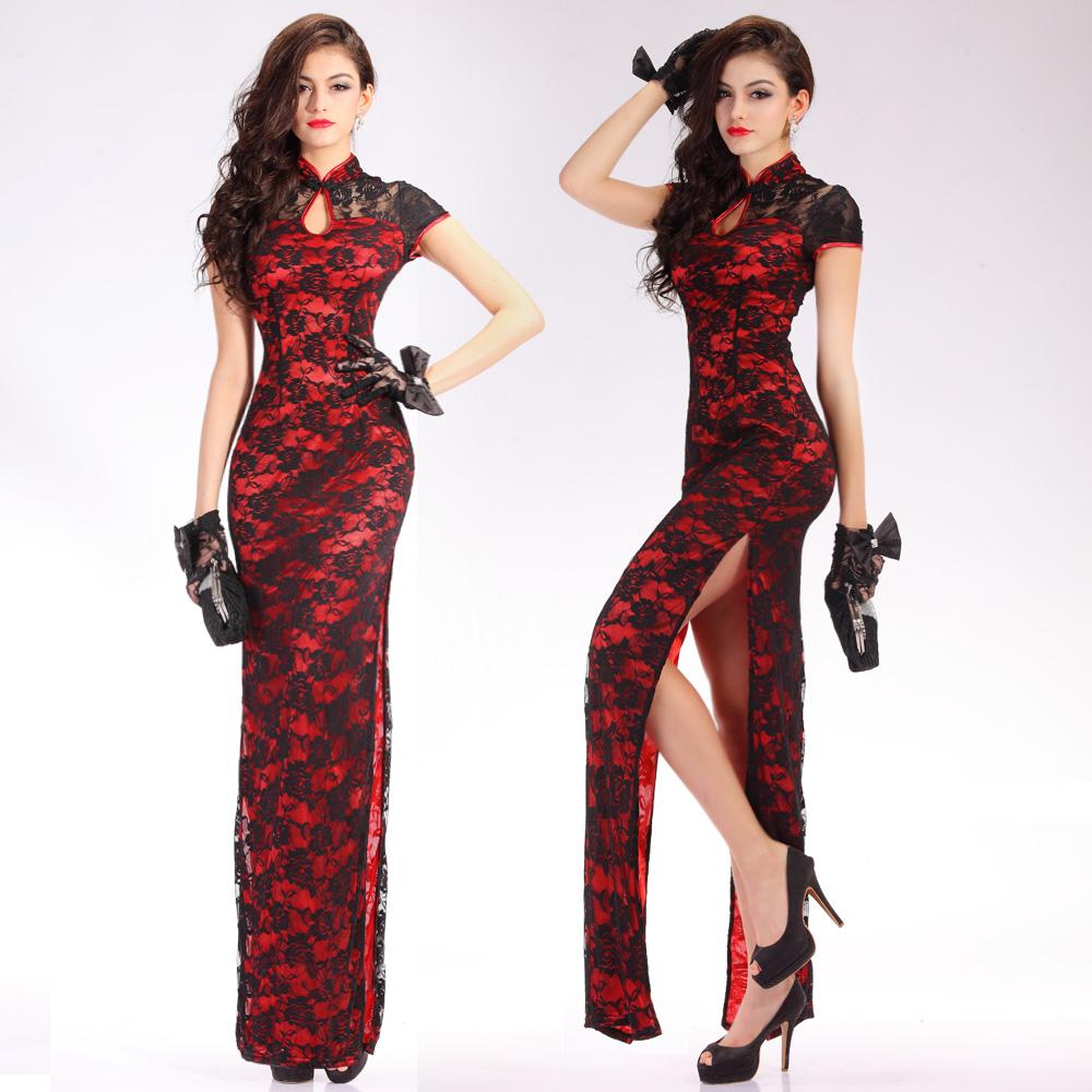 Sexy Romantic Lace Long Cheongsam Dress