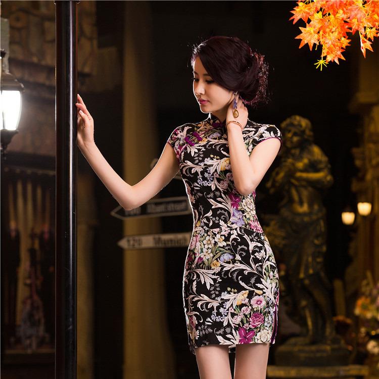 Charming Floral Print Flax Qipao Cheongsam Dress - Black