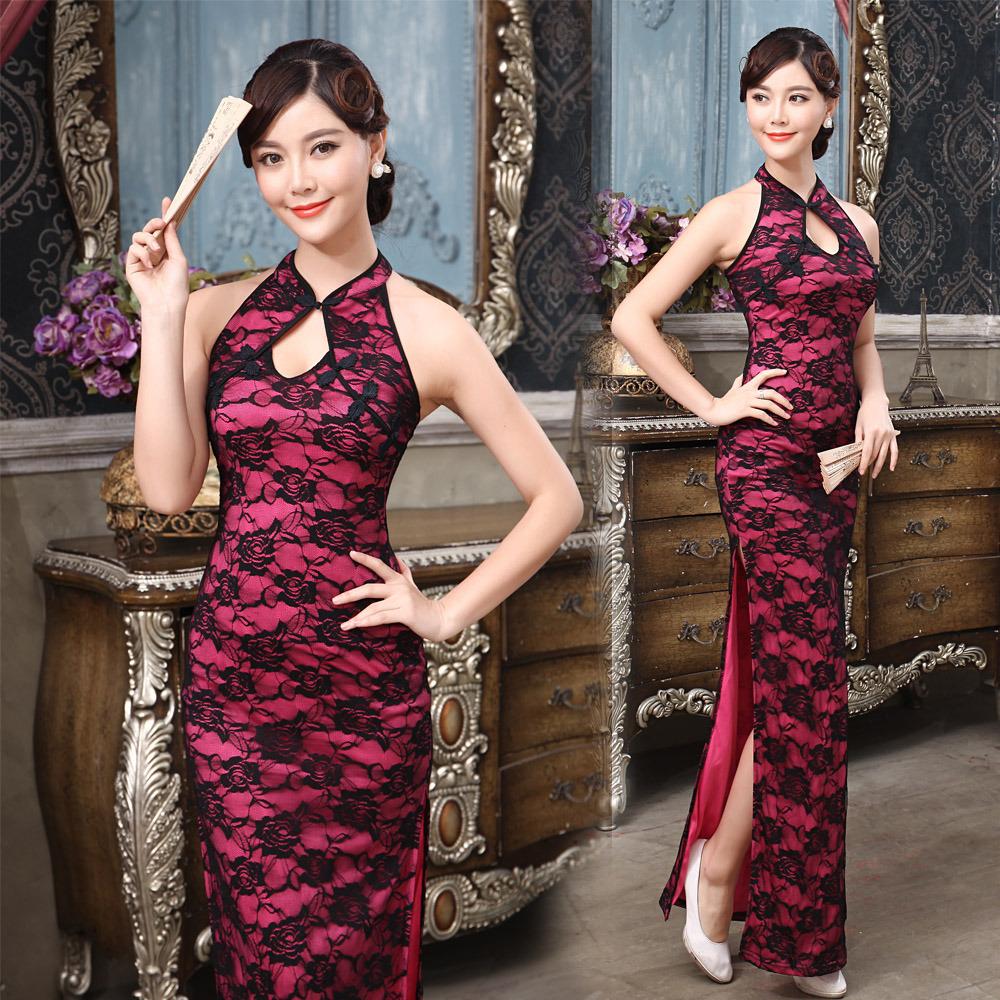 57169ae11 Modern Sexy Roses Lace Long Cheongsam Dress - Rose Red - Qipao ...