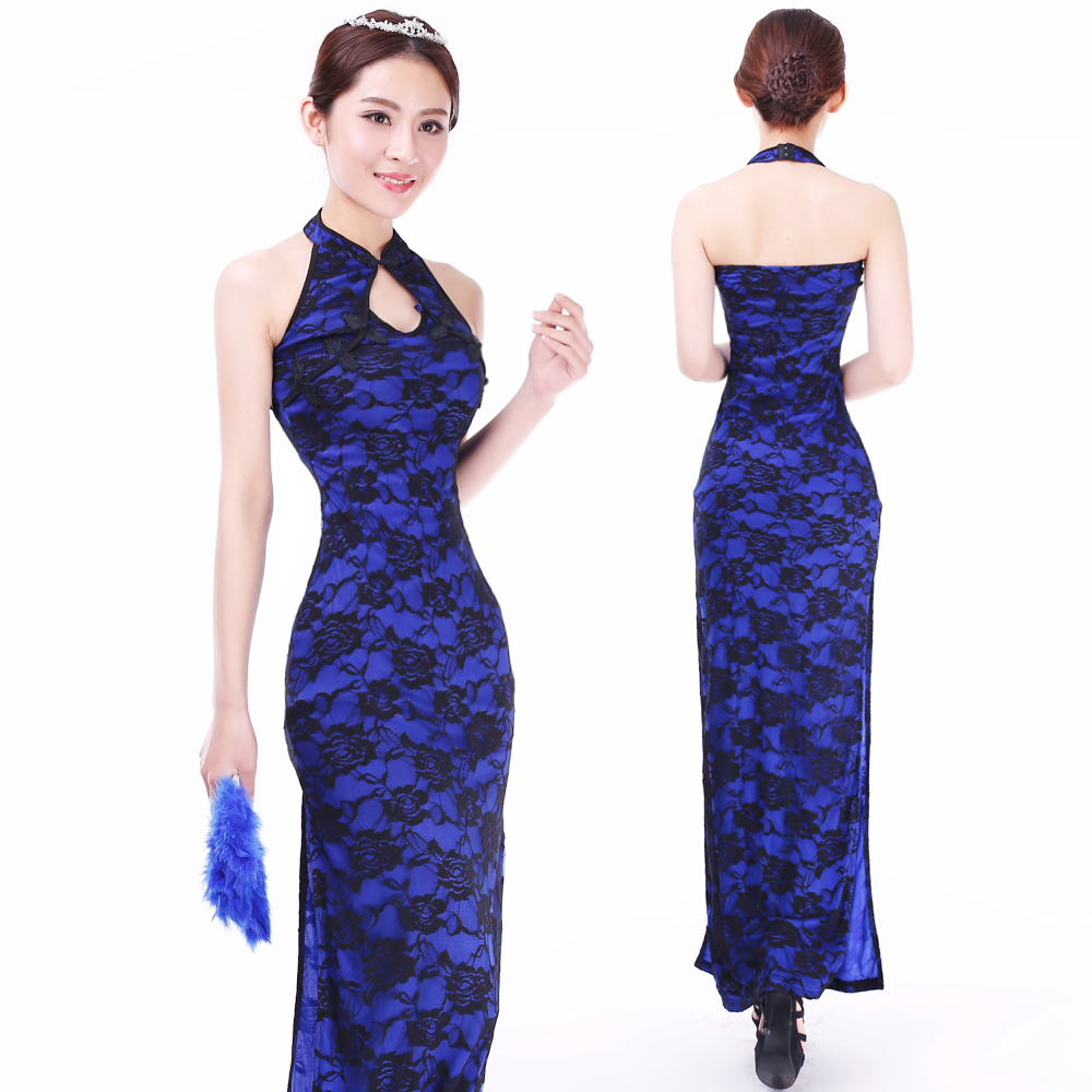 Modern Y Roses Lace Long Cheongsam Dress Blue
