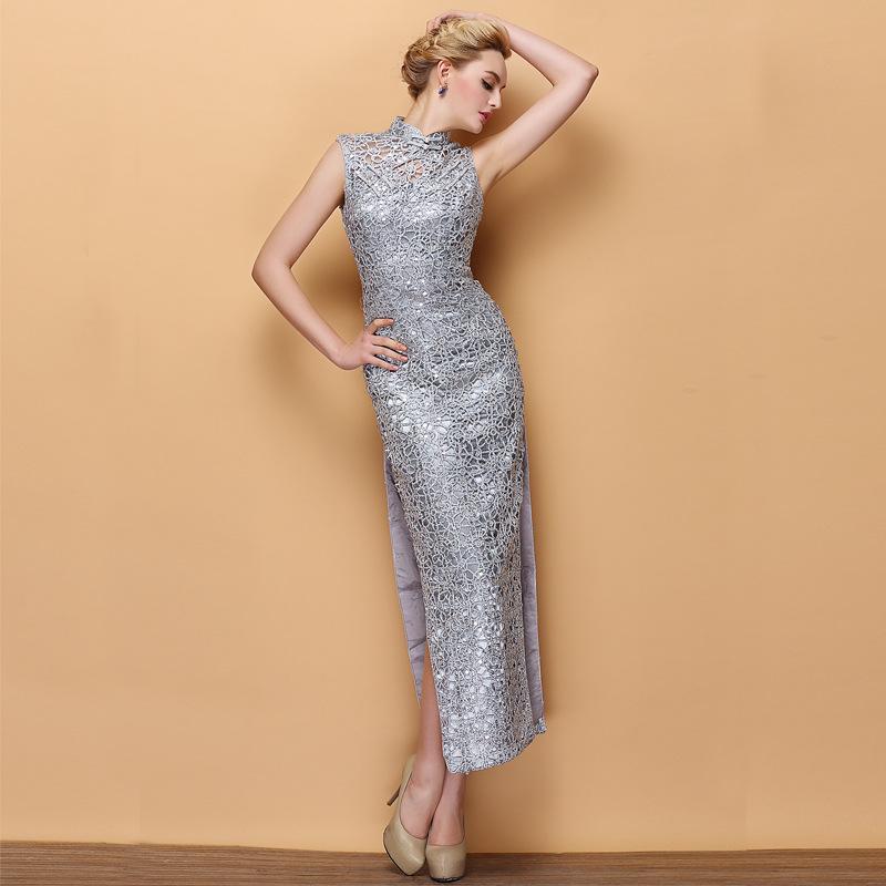 Modern Shiny Silver Lace Sleeveless Long Cheongsam Dress