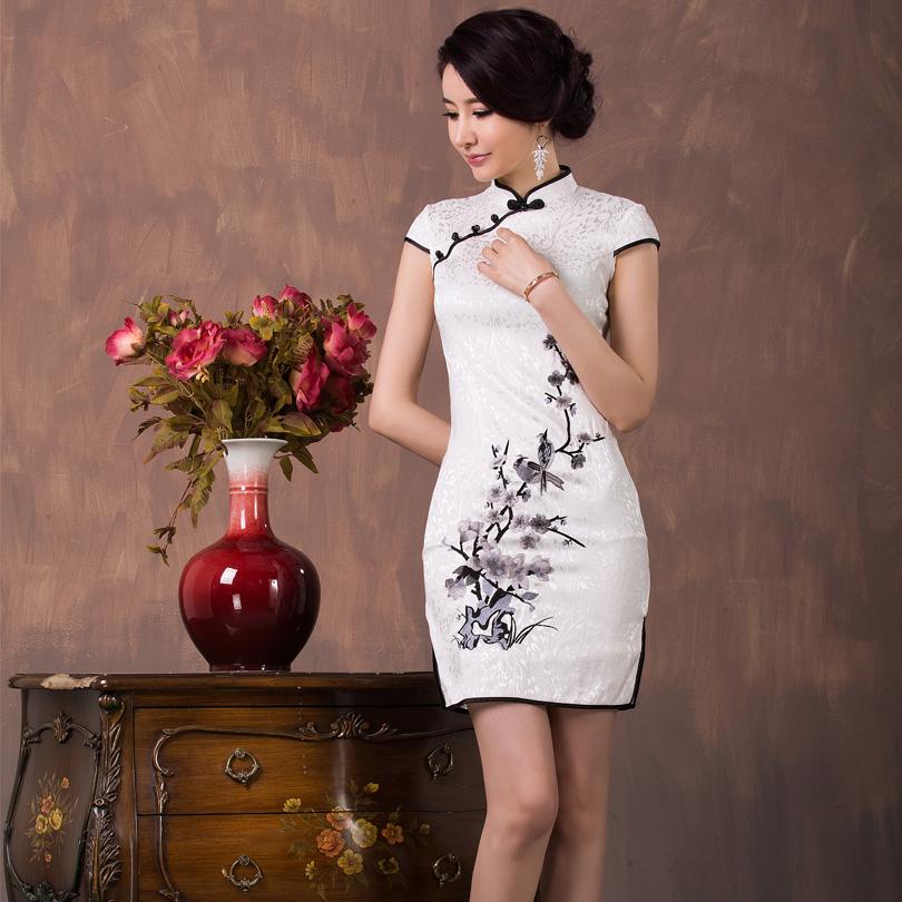 Cute Blossom Flowers Embroidery Qipao Cheongsam Dress - White