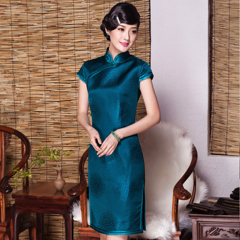 Delicate Peacock Blue Silk Qipao Cheongsam Dress