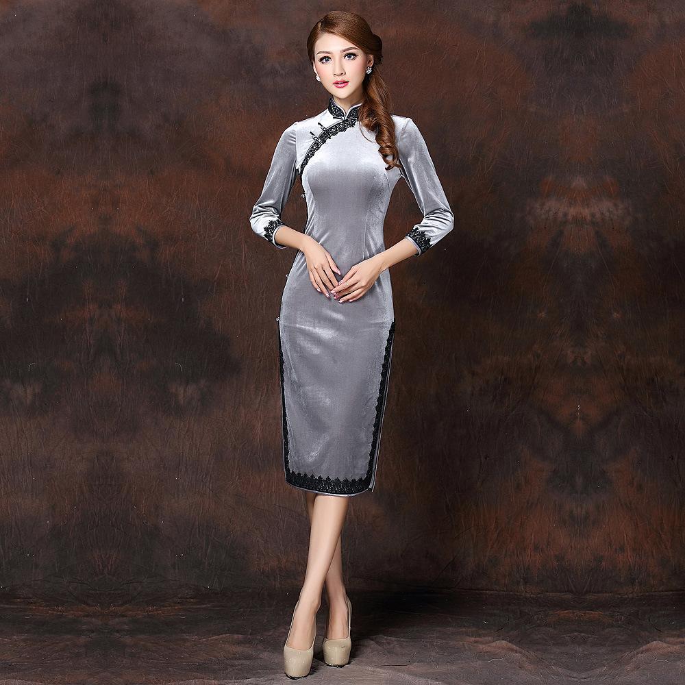 Graceful Silver Velvet Cheongsam Qipao Dress