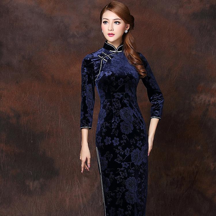 97667ca1a Marvelous Flowers Velvet Qipao Cheongsam Dress - Dark Blue - Qipao ...