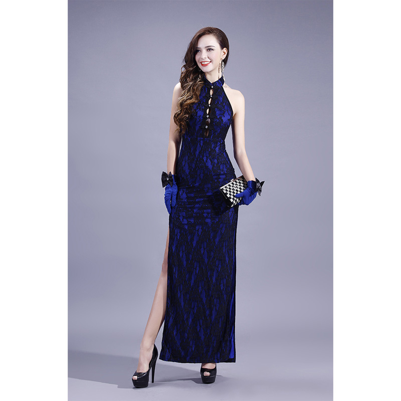 Modern Sleeveless Long Lace Qipao Cheongsam Dress - Blue