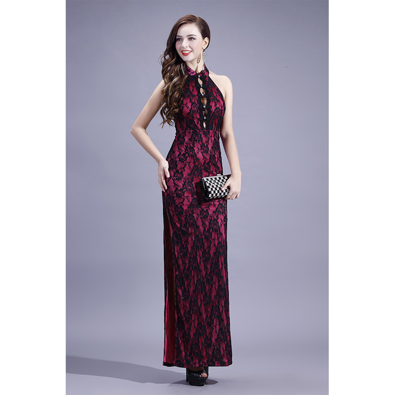 Modern Sleeveless Long Lace Qipao Cheongsam Dress - Pink