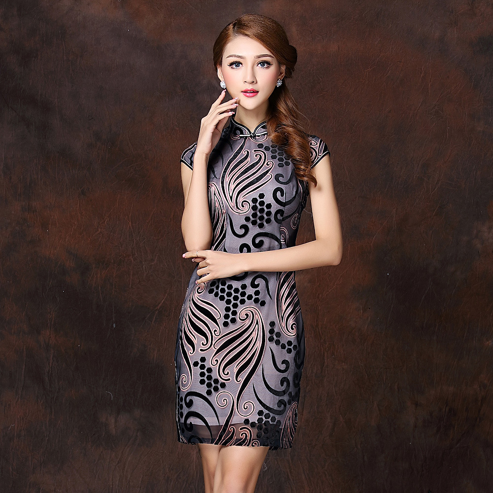 Fascinating Paisley Pattern Qipao Cheongsam Dress - Gray