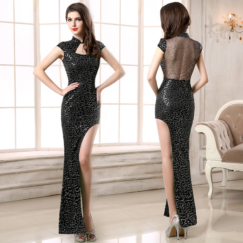 Shiny Beaded One Leg Cut Out Qipao Cheongsam Maxi Dress - Black