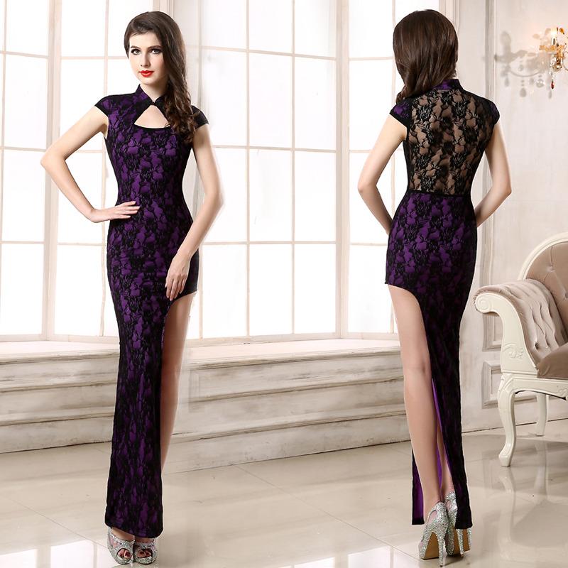 Sexy Lace One Leg Cut Out Qipao Cheongsam Maxi Dress - Purple
