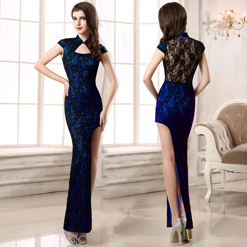 Sexy Lace One Leg Cut Out Qipao Cheongsam Maxi Dress - Blue