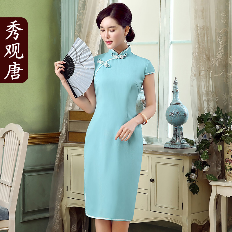 Elegant Cotton Flax Light Blue Qipao Cheongsam Dress