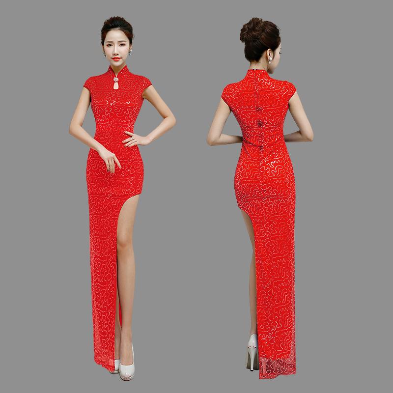 Amazing One Leg Cut Out Qipao Cheongsam Maxi Dress - Red