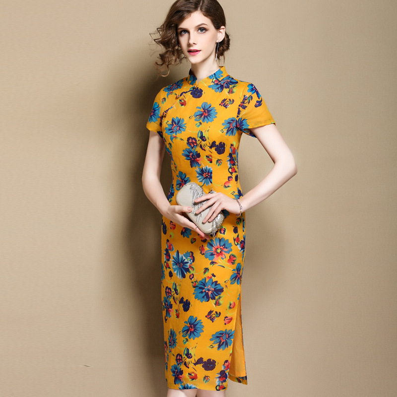 Attractive Floral Print Ramie Qipao Cheongsam Dress