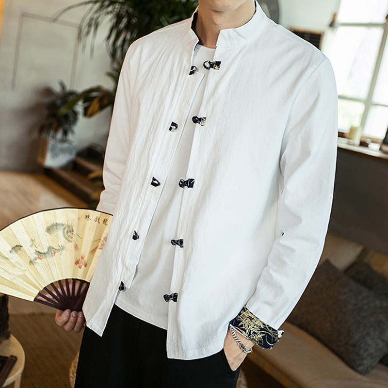 Frog Button Stand-up Collar Cotton Shirt - White