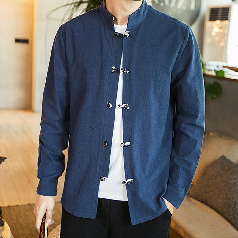 Frog Button Stand-up Collar Cotton Shirt - Blue
