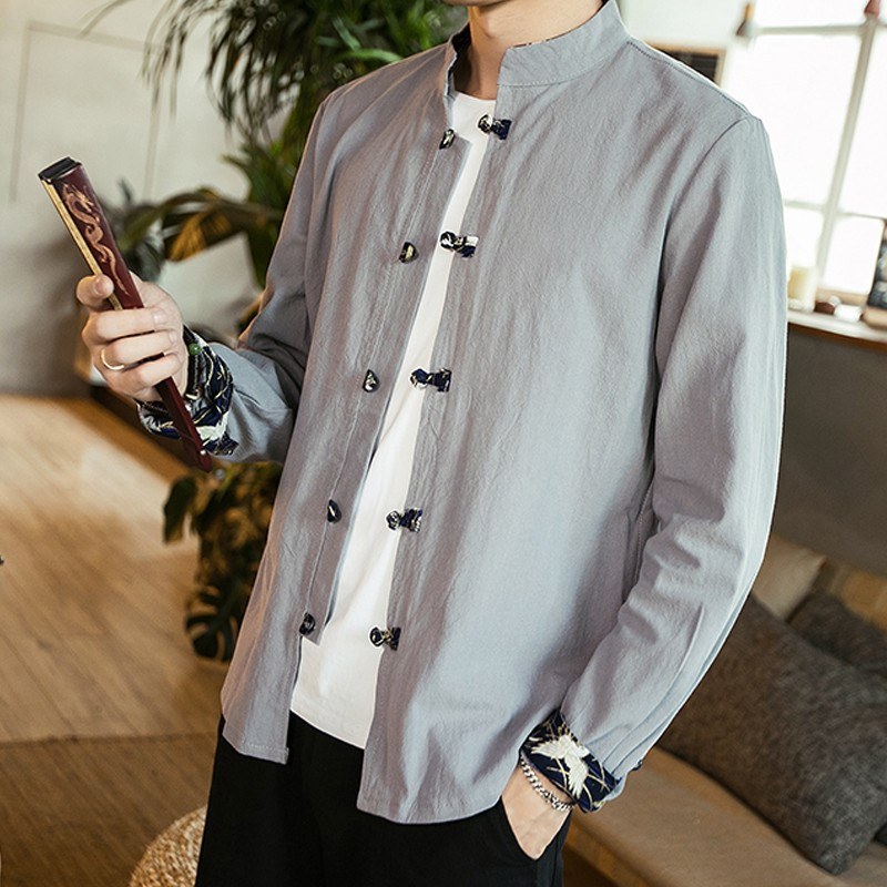 Frog Button Stand-up Collar Cotton Shirt - Gray