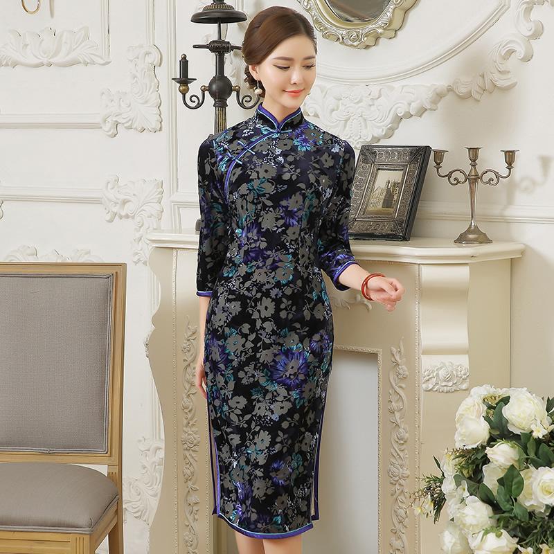 Lovely Gray Flowers Flocked Velvet Qipao Cheongsam Dress