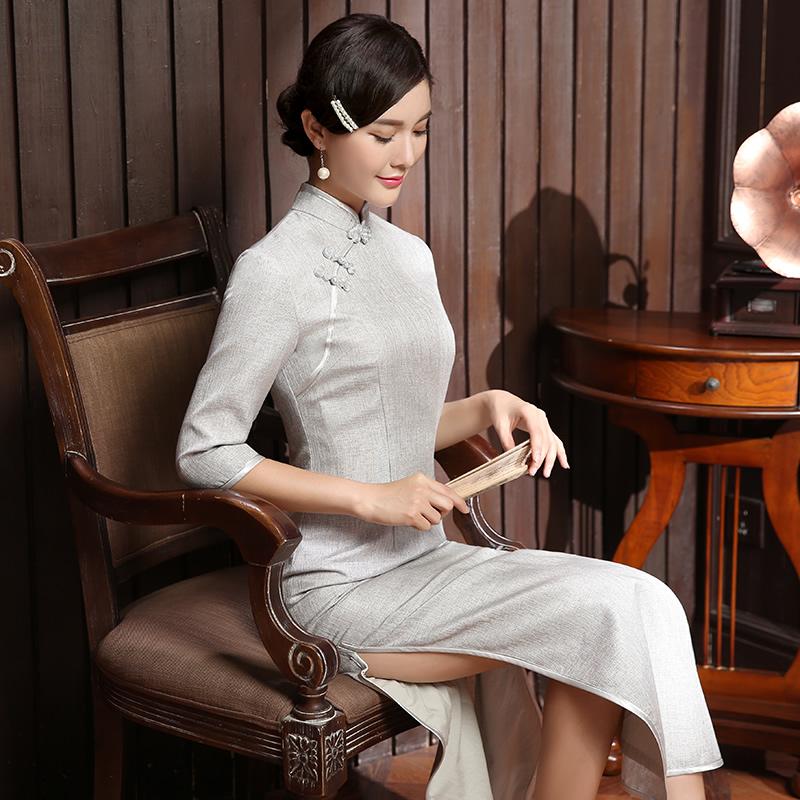 Classic Long Qipao Cheongsam Chinese Dress - Light Gray