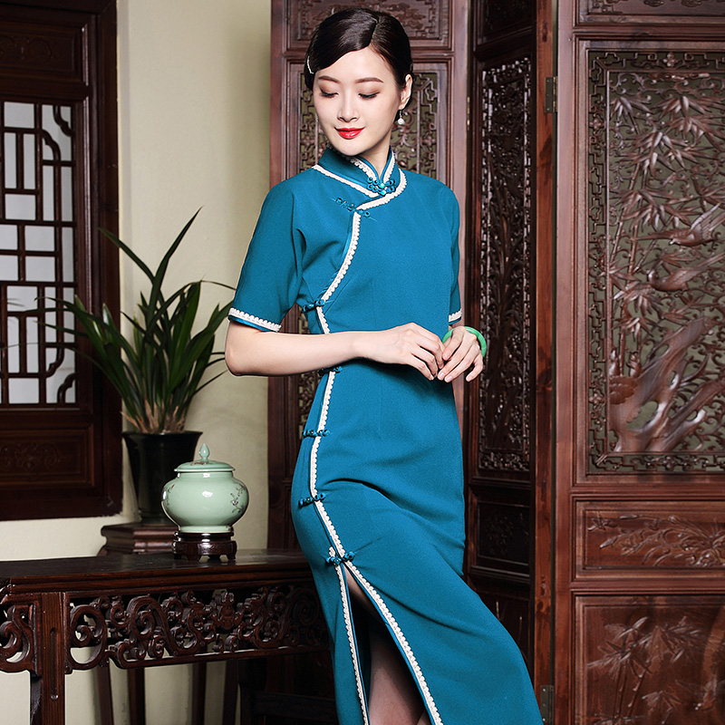 Classical Frog Button Mid-calf Qipao Cheongsam Dress